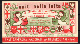 CAMPAGNA ANTITUBERCOLARE - 1963 - LIBRETTO - SEE 3 SCANS - Erinnofilia