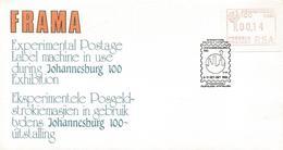 South Africa RSA 1986 Pretoria ATM EMA FRAMA Special Johannesburg 100 Cover - Frankeervignetten (Frama)