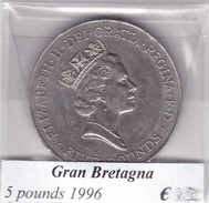 GRAN BRETAGNA   5 POUNDS  ANNO 1996  COME DA FOTO - 1971-… : Decimal Coins