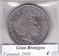 GRAN BRETAGNA   5 POUNDS  ANNO 2000  COME DA FOTO - 1971-… : Decimal Coins