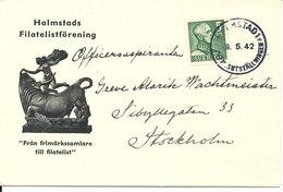 Sweden Cover Halmstad 9-5-1942 Single Stamped Cover With Nice Cachet - Sweden