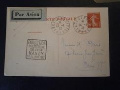 FRANCE TIMBRE ENTIER POSTAL SEMEUSE CARTE ENVELOPPE LETTRE DAGUIN NANCY EXPOSITION PHILATELIQUE 1932 CLUB LORRAIN - Entiers Postaux