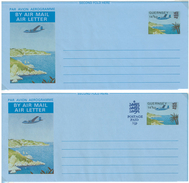 Guernsey, 2 Picture-Aerogrammes **, 14 1/2 P + 14 1/2 P Uprated 5 1/2 P - Guernsey