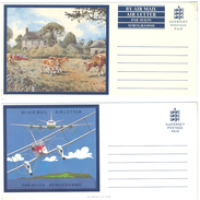 Guernsey, 2 Picture-Aerogrammes, Postage Paid **, Cattles, Aeroplanes - Guernsey