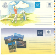 Guernsey, 2 Picture-Aerogrammes, Postage Paid **, Golf, Landscapes - Guernsey