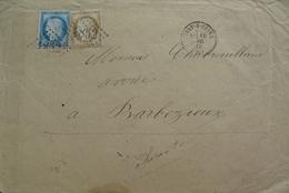 LOT R1861/285 - CERES N°60C + N°55 - (LETTRE) IVRY-SUR-SEINE > BARBEZIEUX (Charente) - 1871-1875 Cérès