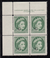 Canada MNH Scott #O41 'G' Overprint On 2c QEII Wilding Plate #1 Upper Left PB - Overprinted