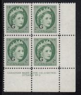 Canada MNH Scott #O41 'G' Overprint On 2c QEII Wilding Plate #2 Lower Right PB - Overprinted