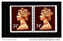 GREAT BRITAIN - 1992  MACHIN  24p. PERF. 14  PAIR IMPERF. SIDES  MINT NH  SG X969 - 1952-.... (Elizabeth II)