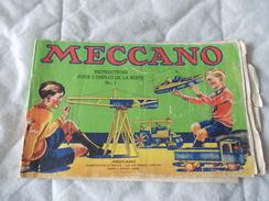 Meccano Instructions Pour L'emploi De La Boite N° 1 Version état Correct - Meccano