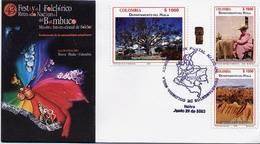 Lote 2243-54F, Colombia, 2003, 4 SPD-FDC, Depto De Santander, Waterfall, Heraldic, Desert, Indigenous Themes, Dance - Colombia