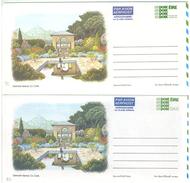 Irland, 2 Picture-Aerogrammes, Postage Paid, Garinish Island 1990 + 1993 - Luftpost