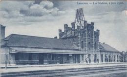 LESSINES-LA STATION-GARE-SUPER-CARTE-BLEU-ANIMEE-PAS ENVOYEE-1908-VOYEZ LES 2 SCANS-TOP ! ! ! - Lessen