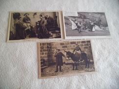 3 CARTES ILLUSTRATIONS .....LES AUVERGNATS CHEZ EUX..LA BOURREE - Folklore