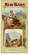 1906 Panorama-Faltblatt Rigi-Bahn, Luzern, Vitznau, Rigi, Kulm, Vierwaldstädter-See / Horaire Fahrplan Vitznau-Rigi-Bahn - Europe