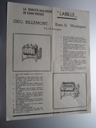 """"""" LABILLE """" Geo BILLEMONT, Keer 15 Wortegem Tel 29 Anzegem ( La Baratte-Malaxeur Karn-Kneder ) 19?? ( Zie Foto ) ! - Publicités"""