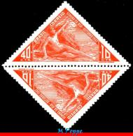 Ref. BR-RAB1-TB BRAZIL 1947 PLANES & AVIATION, AVIATION WEEK, ICARUS,, GREEK MYTHOLOGY, TETE-BECHE, MINT 2V Sc# RAB1 - Brazil