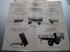 """ RECORD "" Assen - Essieux - Gebr. CLAEYS Frères MALDEGEM Wagens Karren Chariots Tombereaux 19?? ( Zie Foto ) ! - Publicités"