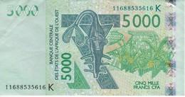 BILLETE DE SENEGAL DE 5000 FRANCS DEL AÑO 2003 CALIDAD EBC (XF) (CIERVO-DEER) (BANK NOTE) - Sénégal