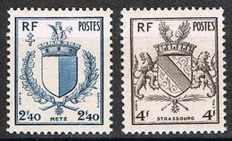 France - YT 734 & 735 - Libération De Metz Et De Strasbourg - Armoiries (1946) NEUF ** ETAT IMPECCABLE - France