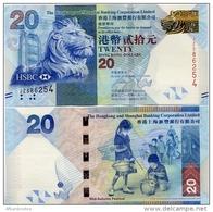 HONG KONG - HSBC   20 Dollars    P-212c       1.1.2013       UNC - Hong Kong