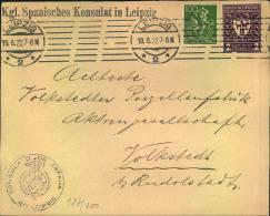 """1922, Brief Ab LEIPZIG, Absender """"""""Kgl. Spanisches Konsulat"""""""" Nach Volkstedt. - Storia Postale"""