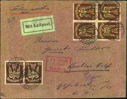 1923, 25 Mk Holzstaube Im Viererblock Und Paar Auf Luftpostbrief Ab LEIPZIG Mit Flugbestätigungsstempel Nach Berlin. - Deutschland