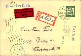 1965, Block 3 Rückseitig Auf Einschreiben-Expressbrief Ab MITTENWALD. In Berlin Mmit Rohrpost Befördert. - BRD