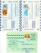 Ungarn, 3 Aerogramme, 1 Nach USA Und 2 Nach Deutschland - Luftpost