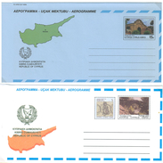 Zypern, 2 Aerogramme **, Bauwerke Mit Landkarte - Zypern (Republik)