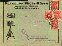 """1922, Auslandsdrucksache Mit 10 M MeF Ab PASSAU, Reklame """"""""Passauer Photo-Börse"""""""" - Fotografie"""