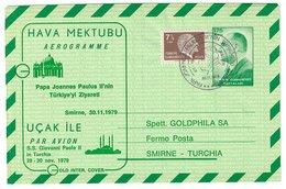 Türkei , Aerogramm 1979, Nach Smirne, Sonder-Stempel Papst Paul In Der Türkei - 1921-... Republik