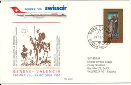 Liechtenstein Swissair First Flight Geneve - Valencia Fokker 100 29-10-1990 - Liechtenstein