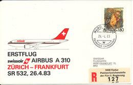 Liechtenstein Swissair First Flight Airbus A 310 Zurich - Frankfurt 26-4-1983 - Liechtenstein