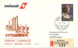 Liechtenstein Swissair First Flight Zurich - Larnaka 27-3-1984 - Liechtenstein