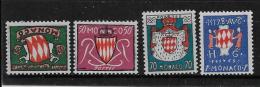 MONACO, 1954   SCOTT # 312-3-4-5, INCOMPLETE SERIE , GRIMALDI ARMS   MNH - Monaco