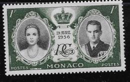 MONACO, 1956   SCOTT # 366, PRINCESS GRACE &  PRINCE RAINIER 111   NO GUM - Monaco