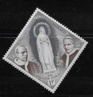 MONACO, 1958   SCOTT # 412  VIRGIN MARY , PIUS 1X, PIUS X11 MNH - Monaco