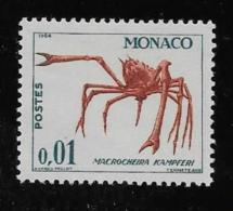 MONACO, 1964   SCOTT # 581, CRAB                 MNH - Monaco