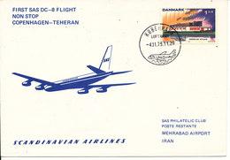 Denmark SAS First DC-8 Flight Non Stop Copenhagen - Teheran 4-11-1975 - Lettres & Documents