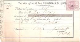 SERVICE GENERAL CIMETIERES DE PARIS 1870 TIMBRE FISCAL IMPERIAL 20C - France