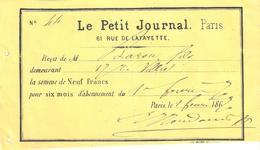 LE PETIT JOURNAL PARIS SIX MOIS ABONNEMENT 1870 FACTURE RECU - Francia