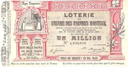 BILLET LOTERIE OEUVRE DES PAUVRES HONTEUX 1907 - Lottery Tickets