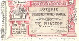 BILLET LOTERIE OEUVRE DES PAUVRES HONTEUX 1907 - Billets De Loterie