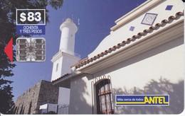 Nº 43 TARJETA DE URUGUAY DE ANTEL DE EL FARO DE COLONIA DEL SACRAMENTO (LIGHTHOUSE) - Uruguay