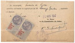 FRANCIA - France - 1947 - 2 X 1,5 Francs Taxes Communales - Mairie De Lure - Delega - Signature D'authentification De Pr - Fiscales