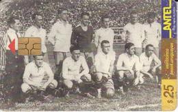 Nº 62 TARJETA DE URUGUAY DE ANTEL SELECCION CAMPEONA DEL MUNDIAL DEL AÑO 1924 (FUTBOL-FOOTBALL) (rozada) - Uruguay