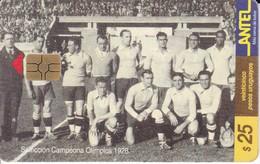 Nº 63 TARJETA DE URUGUAY DE ANTEL SELECCION CAMPEONA DEL MUNDIAL DEL AÑO 1928 (FUTBOL-FOOTBALL) (CHIP G5 ROJO) - Uruguay