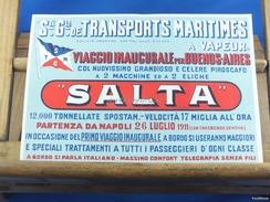 """FOGLIO PUBBLICITARIO_S.tè G.le TRANSPORTS MARITTIMES A VAPEUR_VIAGGIO INAUGURALE Per BUENOS-AIRES-con PIROSCAFO """"SALTA"""" - Publicités"""