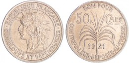 GUADALUPE  (Guadeloupe Et Dépendances) (COLONIA FRANCESA) 50 CÉNTIMOS 1.921 CU-NI KM#45 EBC+/XF+ DL-12.121 - Monedas